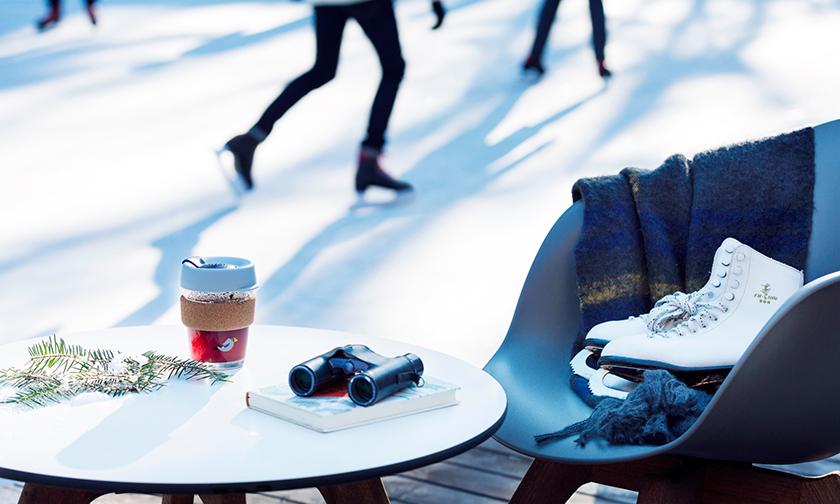 写真:森の中の氷上散歩&カフェタイム