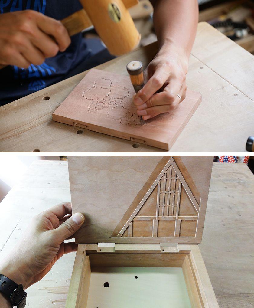 写真:信州の伝統工芸を伝える「軽井沢彫」